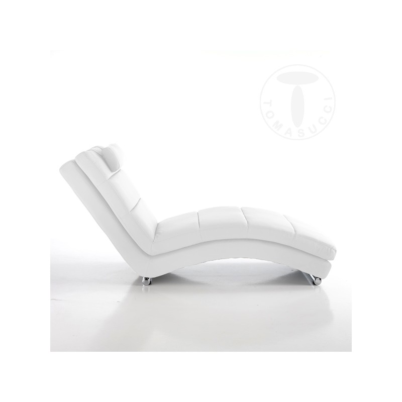 Sofia White Poltrona chaise loungue in ecopelle con cuscino poggiatesta bianco